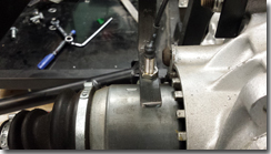 Bracket and Sensor fitted to chassis over drive shaft - Click for larger image