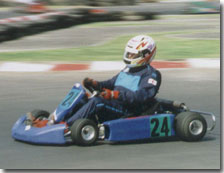 Me racing the Jade Rotax Max development kart at Buckmore Park 1998